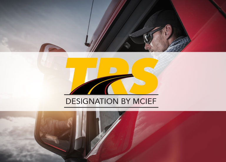 TRS logo with Truck driver background